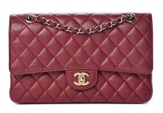 Caviar Quilted Medium Double Flap Red