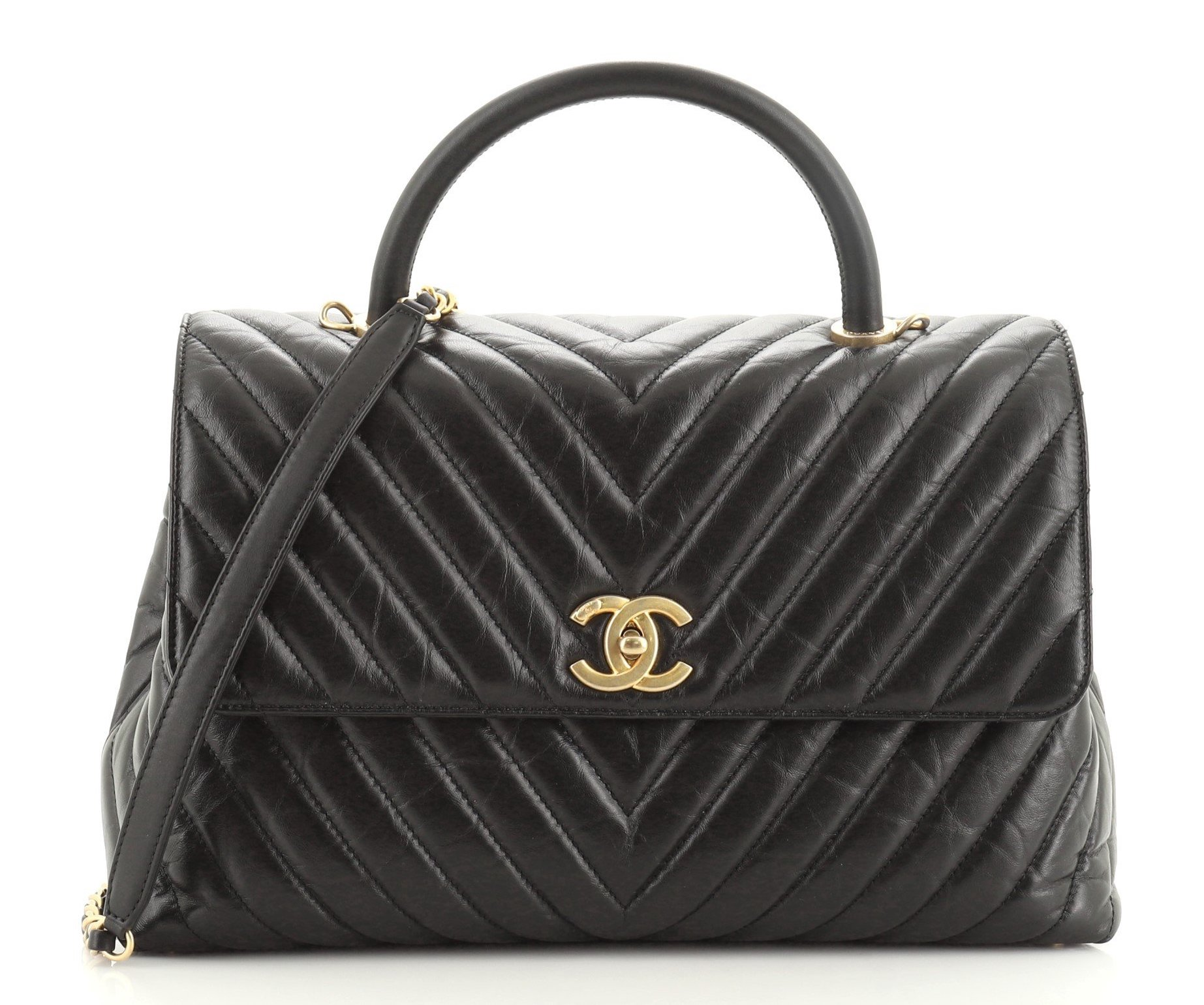 Chanel Coco Top Handle Bag Chevron Calfskin Large