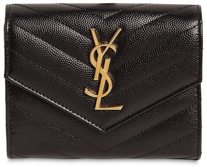 YSL Compact 3-Fold Quilted Leather Wallet