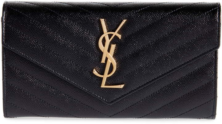 YSL Monogram Logo Flap Wallet