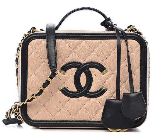 Chanel Medium Filigree Vanity Case Beige