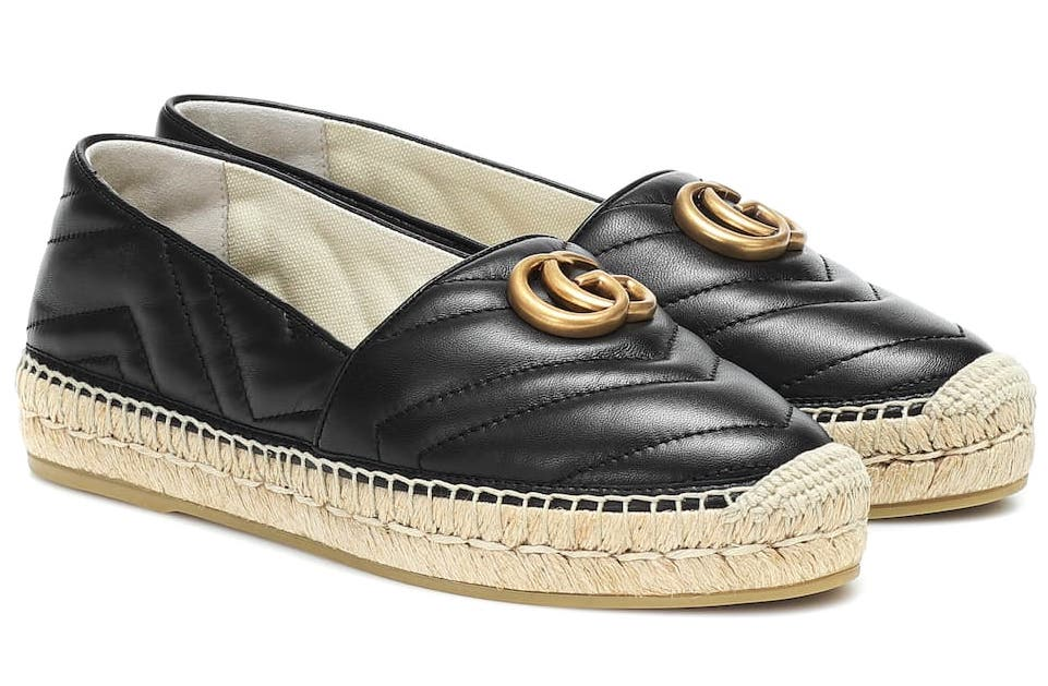 Gucci Double G Leather Espadrilles