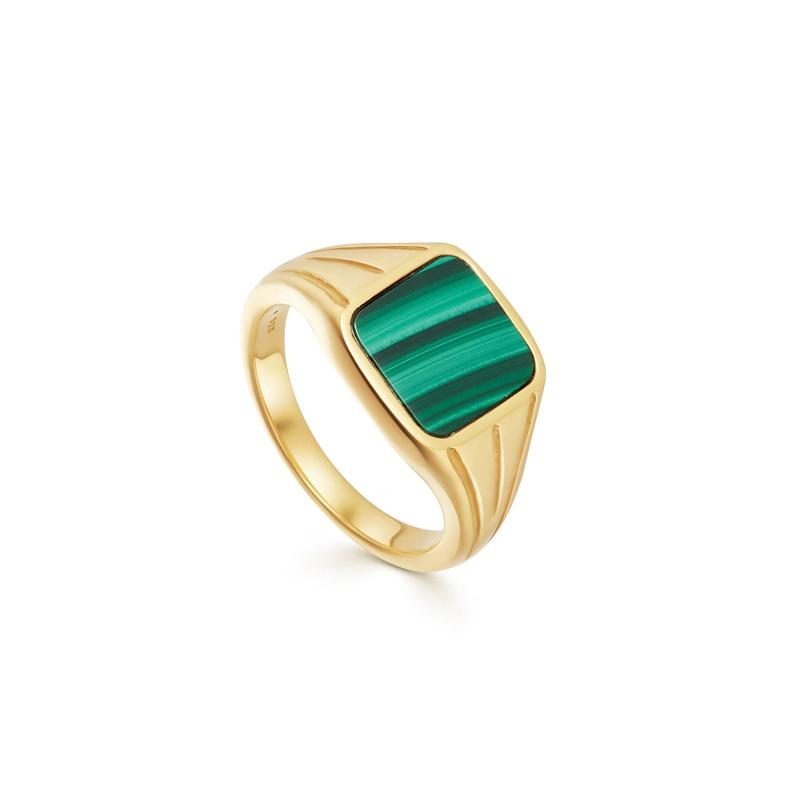 Lucy Williams malachite square gold signet ring