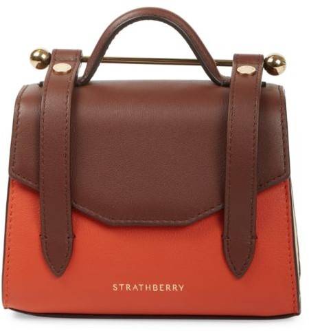Strathberry Micro Allegro bicolor leather satchel