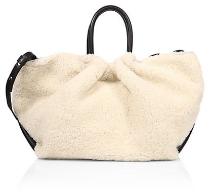 Demellier Los Angeles Leather-Trimmed Shearling Tote