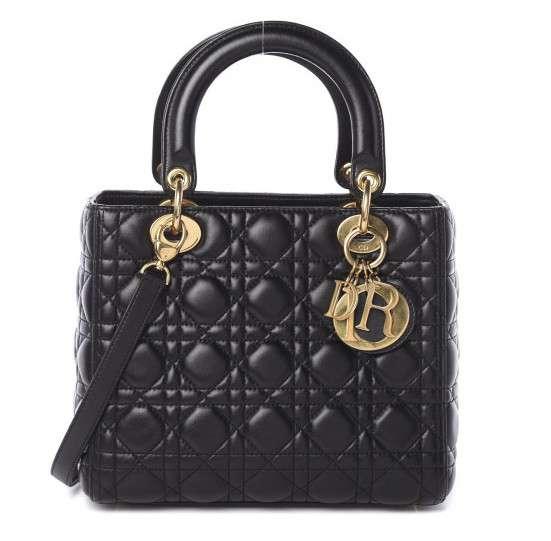 Lambskin Medium Lady Dior Bag Black