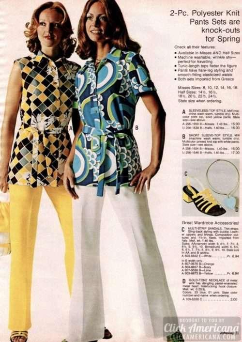 polyester knit sets women's 1970s fashion