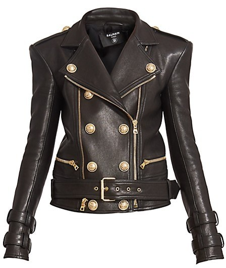 Balmain Perfecto Six Button Leather Moto Jacket