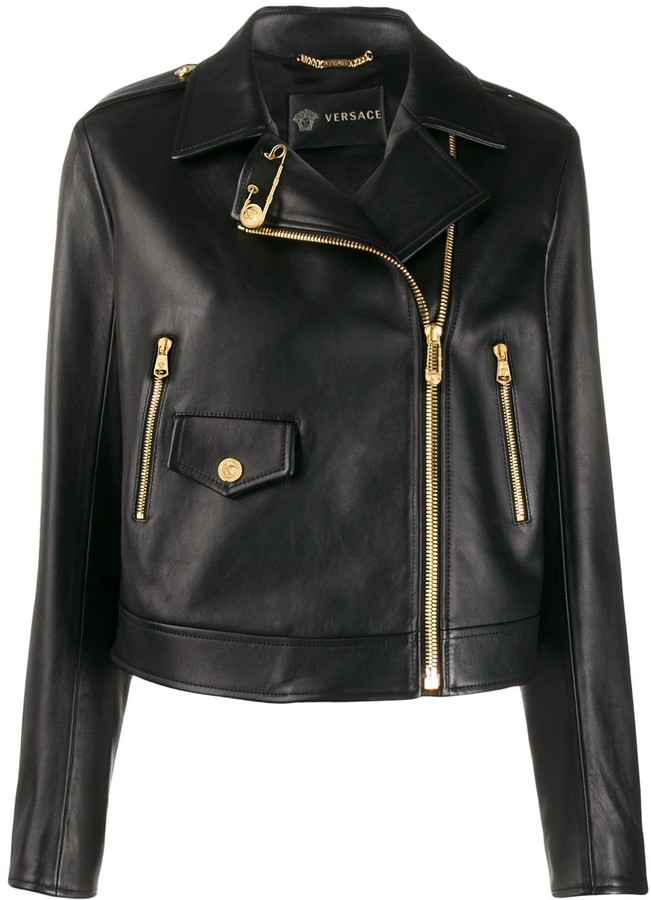 Versace Cropped Safety-Pin Biker Jacket