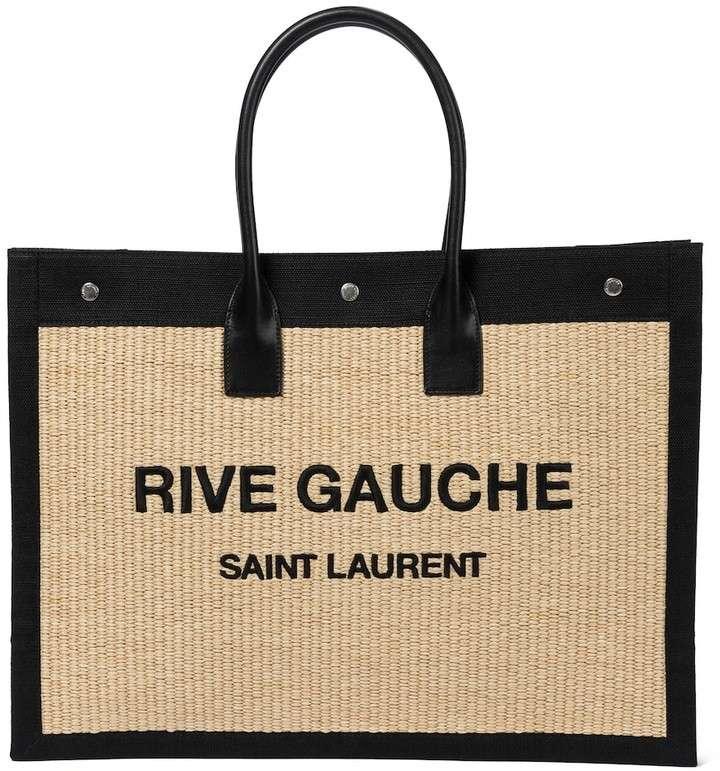 Saint Laurent Rive Gauche Raffia and Canvas Tote