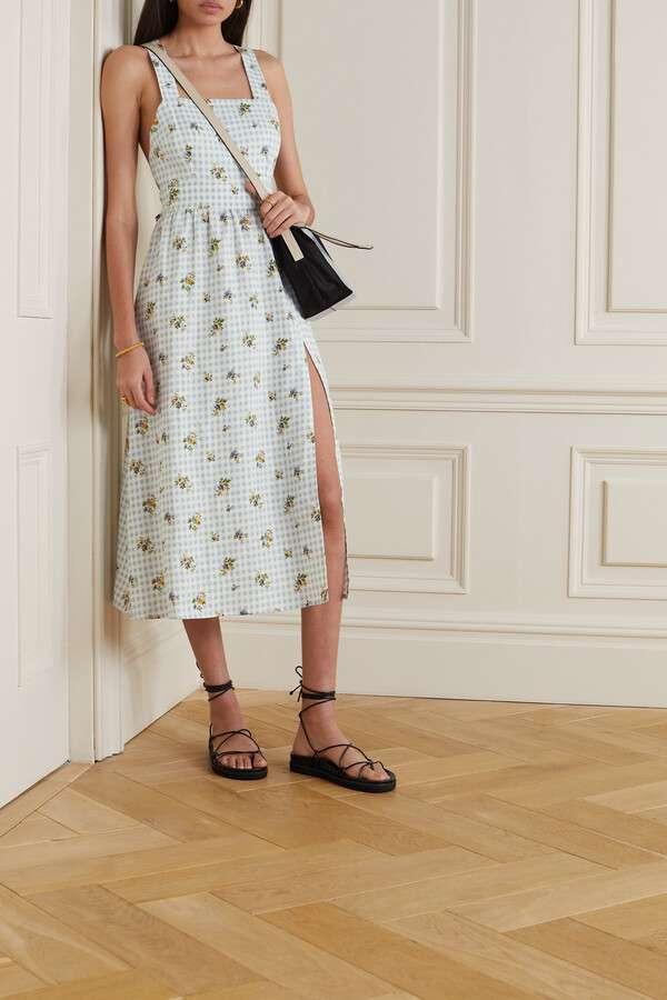 Reformation Elara Floral-print Gingham Linen Midi Dress
