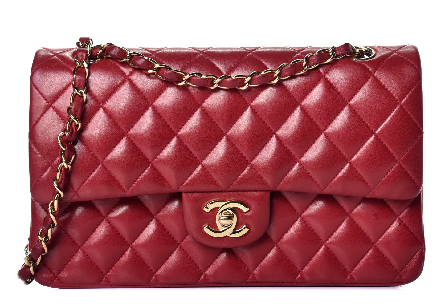 Chanel Lambskin Medium Red Classic Flap