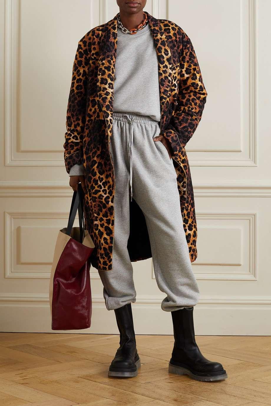 R13 Oversized Belted Leopard Print Flannel Coat